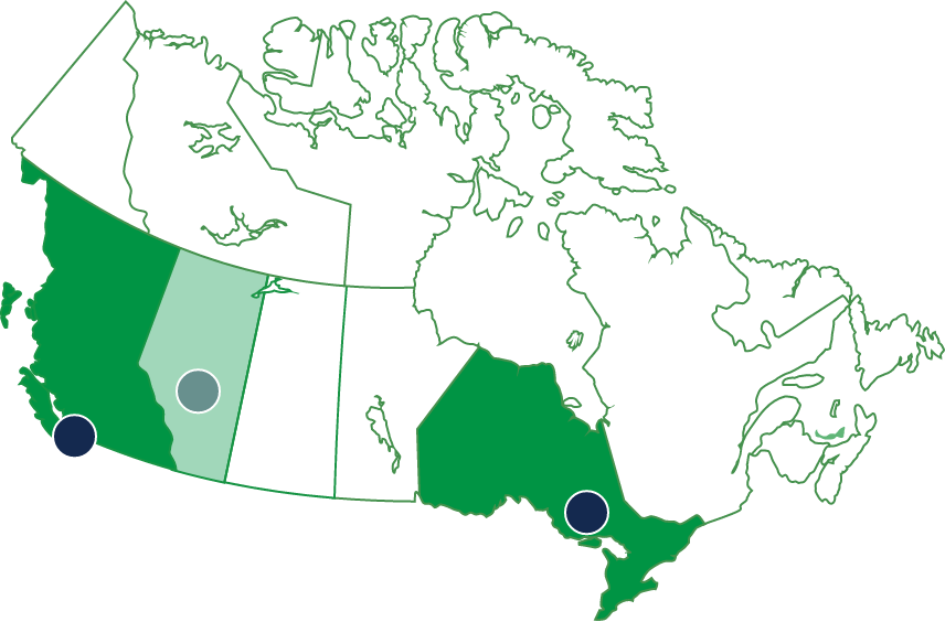 Canada map of locations